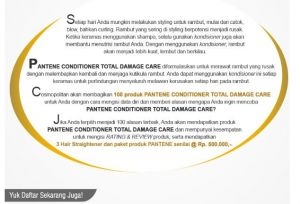 100 Pantene Conditioner Total Damage Care Gratis Bagi Pendaftar Terpilih
