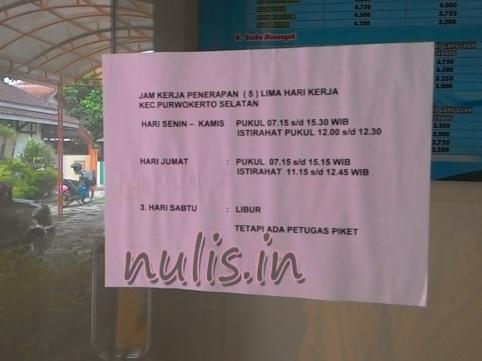 Jam Buka Tutup Pelayanan Administrasi Kecamatan