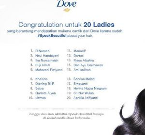 80 Pemenang Mukena Cantik (Speak Beautiful With Dove)