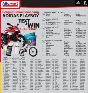 116 Pemenang Adidas Playboy Text & Win (Alfamart)