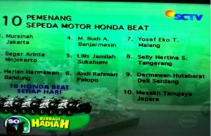 10 Pemenang Honda Beat Undian So Nice (10 September 2015)