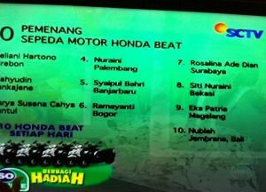 10 Pemenang Honda Beat Undian So Nice (15 September 2015)