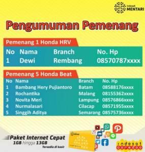Pemenang Honda Promo Indosat - Alfamart