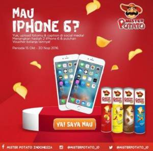 Upload Foto With Mister Potato Berhadiah Iphone & Voucher Belanja