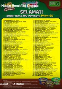 200 Pemenang Iphone Promo Combo Fiesta Koko Krunch