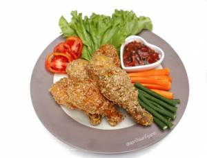 Ayam Goreng Oats Saus Bayam Merah