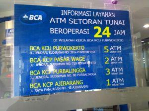 Lokasi ATM Setoran Tunai (BCA) Di Purwokerto