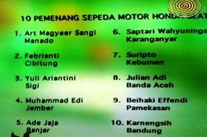 10 Pemenang Honda Beat  Undian So Nice (Day 10)