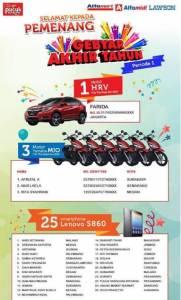 29 Pemenang Gebyar Akhir Tahun Teh Pucuk & Q Guava Alfamart Periode 1