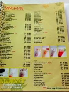Harga Menu Makanan & Minuman Di Sunset Foodcourt Purwokerto
